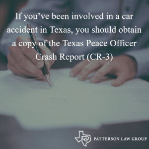 If you've been involved in a car accident in Texas, you should obtain a copy of the Texas Peace Officer Crash Report (CR-3)