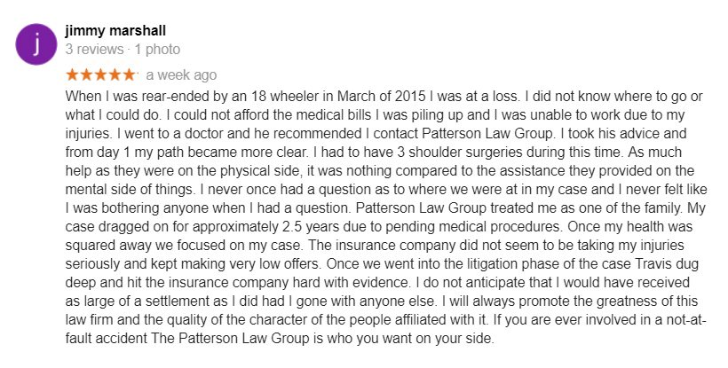 Jimmy Review of Patterson Law Group